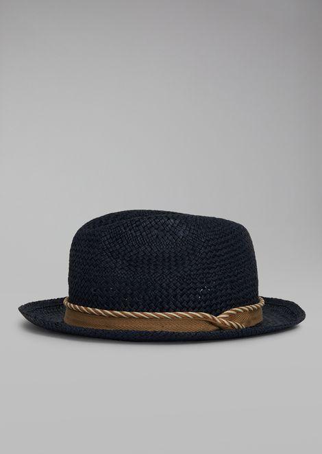 Hat In Woven Paper With Cord for Men | Giorgio Armani | Tuggl
