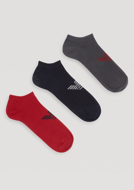 Three Pair Set Of Socks With Central Logo Detail for Men | Emporio Armani | Tuggl