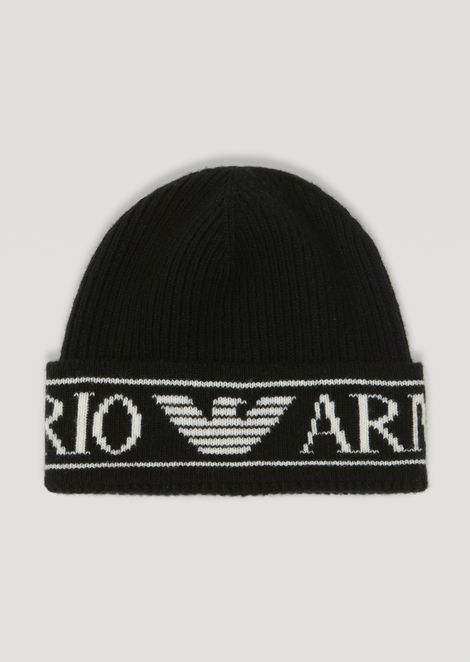 Ribbed knit beanie with Emporio Armani logo  3a6dfef2717