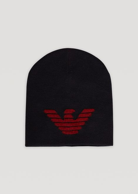 Knitted beanie with embroidered eagle  cf659fb164d