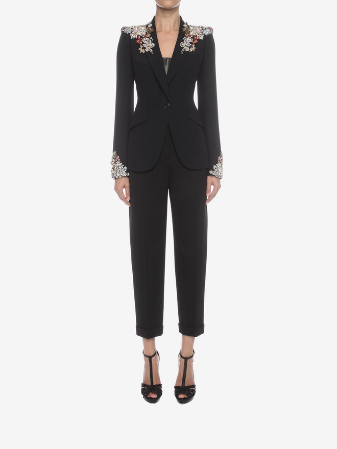 ALEXANDER MCQUEEN Embroidered Peak Shoulder Jacket Tailored Jacket D r