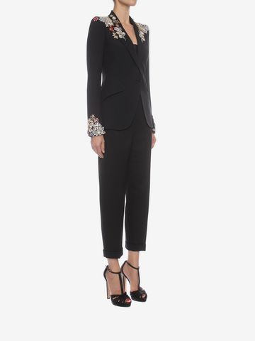 ALEXANDER MCQUEEN Embroidered Peak Shoulder Jacket Tailored Jacket D d
