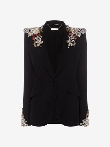 ALEXANDER MCQUEEN Embroidered Peak Shoulder Jacket Tailored Jacket D f