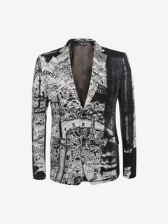 "ALEXANDER MCQUEEN Tailored Jacket U ""London Map"" Print Jacket f"