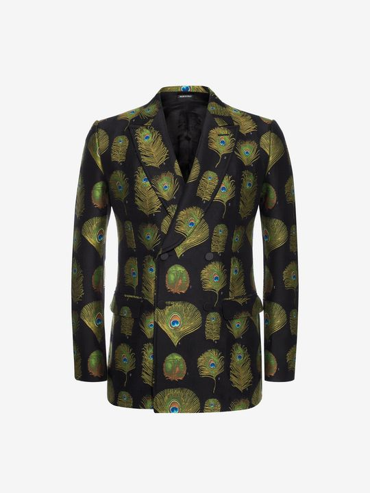 ALEXANDER MCQUEEN Peacock Feather Jacquard Jacket Tailored Jacket U f