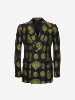 ALEXANDER MCQUEEN Tailored Jacket U Peacock Feather Jacquard Jacket f