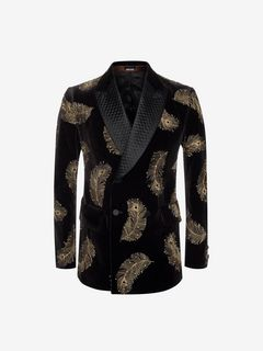 ALEXANDER MCQUEEN Tailored Jacket U Crystal and Feather Embroidered Velvet Jacket f