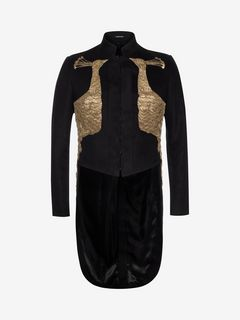 ALEXANDER MCQUEEN Tailored Jacket U Peacock Embroidered Cotton Doeskin Jacket f