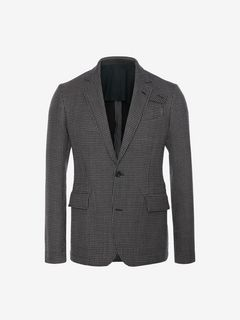 ALEXANDER MCQUEEN Tailored Jacket Man Dogtooth Deconstructed Jacket f