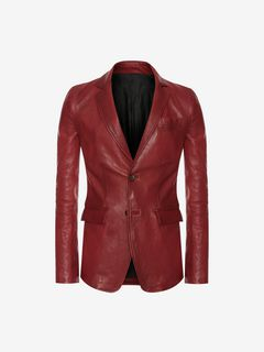ALEXANDER MCQUEEN Tailored Jacket Man Distressed Lambskin jacket f