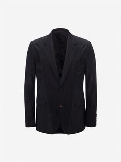 ALEXANDER MCQUEEN Tailored Jacket Man Patchwork Pinstripe Jacket f