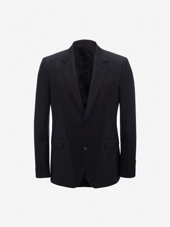 ALEXANDER MCQUEEN Patchwork Pinstripe Jacket Tailored Jacket Man f