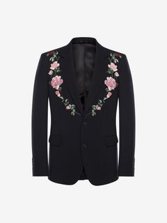 ALEXANDER MCQUEEN Tailored Jacket Man Rose Embroidered Jacket f