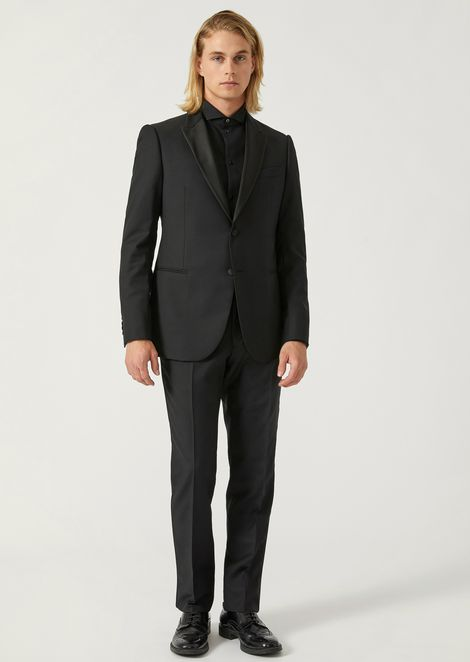 Modern Fit Suit In Pure Virgin Wool With Satin Details
