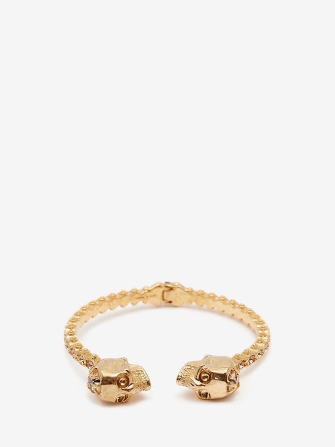 ALEXANDER MCQUEEN Jewelled Twin Skull Bangle Bracelet D f