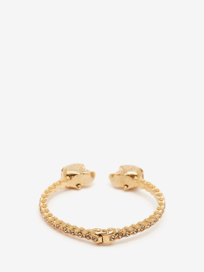 ALEXANDER MCQUEEN Jewelled Twin Skull Bangle Bracelet D r