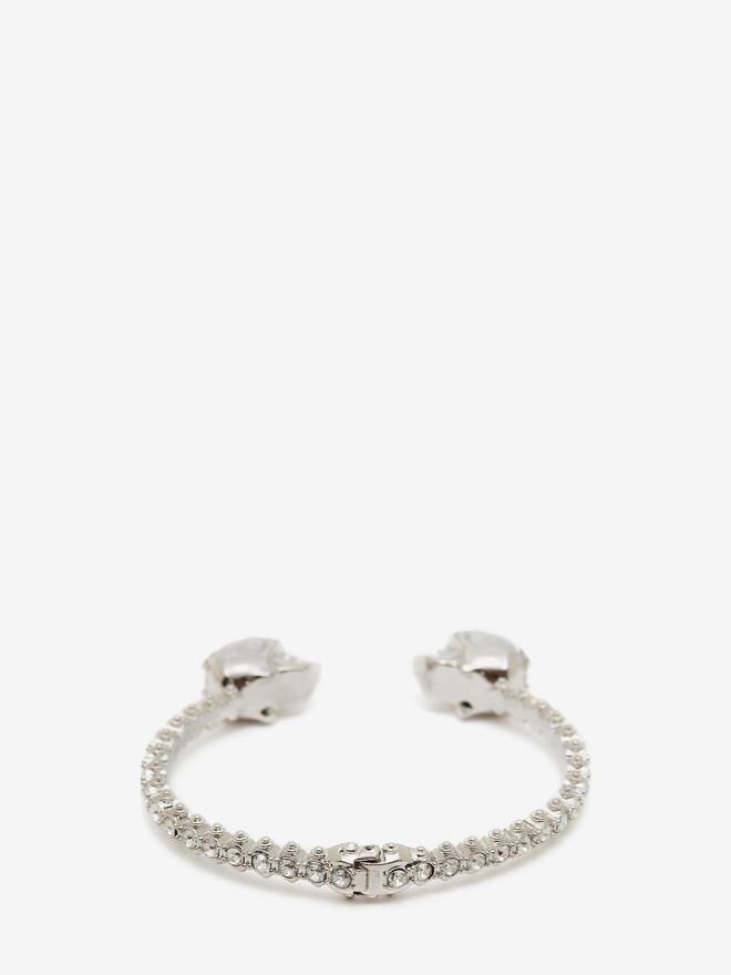 ALEXANDER MCQUEEN Jewelled Twin Skull Bangle Bracelet Woman r