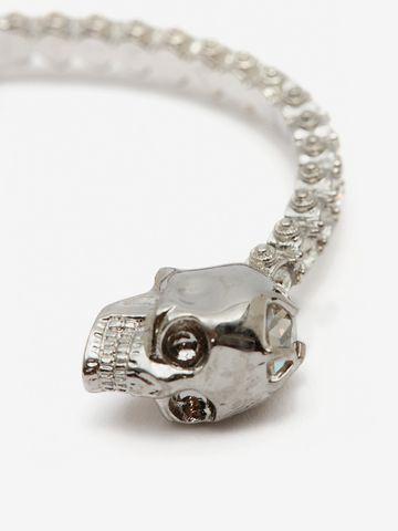 ALEXANDER MCQUEEN Jewelled Twin Skull Bangle Bracelet Woman d