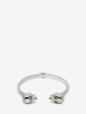 ALEXANDER MCQUEEN Jewelled Twin Skull Bangle Bracelet Woman f