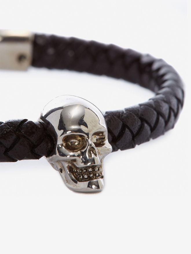 ALEXANDER MCQUEEN Skull Leather Bracelet Bracelet Man d
