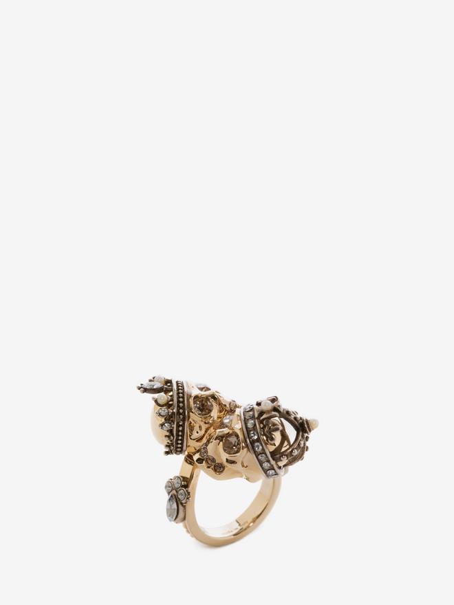 ALEXANDER MCQUEEN King and Queen Skull Ring Ring D r