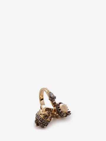 ALEXANDER MCQUEEN King and Queen Skull Ring Ring D d