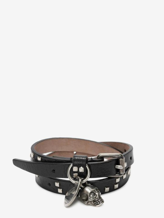 ALEXANDER MCQUEEN Bracelet Man Skull Charm Double Wrap Bracelet f