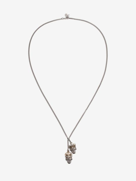 ALEXANDER MCQUEEN Necklace Woman King and Queen Skull Pendant Necklace f