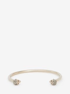 Thin Jeweled Twin skull bracelet
