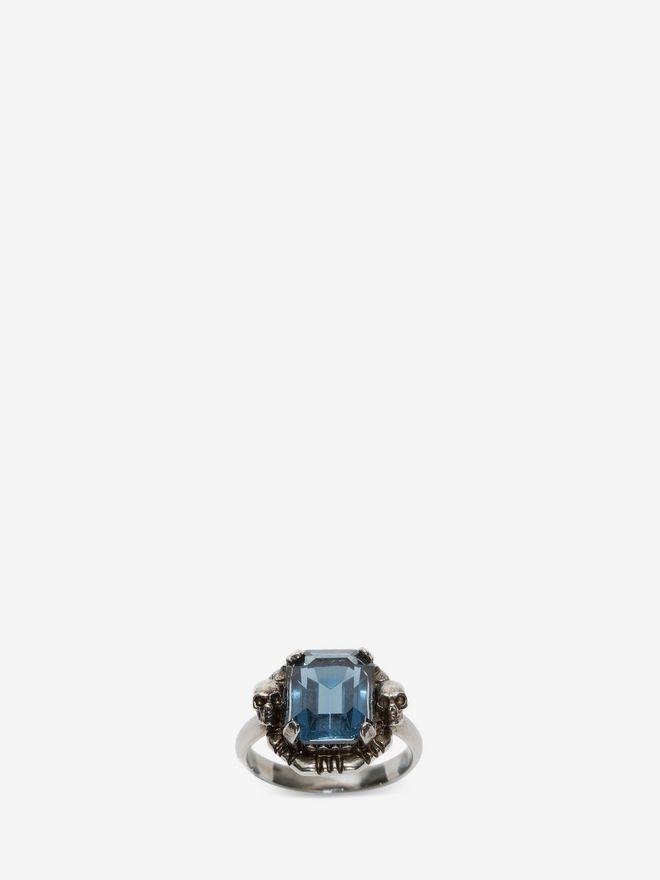 ALEXANDER MCQUEEN Blue Swarovski Crystal Ring Ring D d