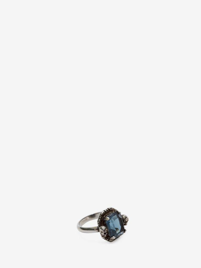 ALEXANDER MCQUEEN Blue Swarovski Crystal Ring Ring D e