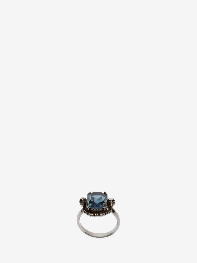 ALEXANDER MCQUEEN Blue Swarovski Crystal Ring Ring D f