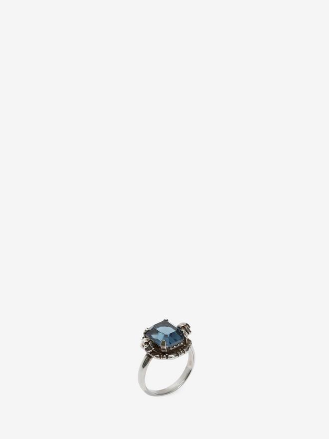ALEXANDER MCQUEEN Blue Swarovski Crystal Ring Ring D r