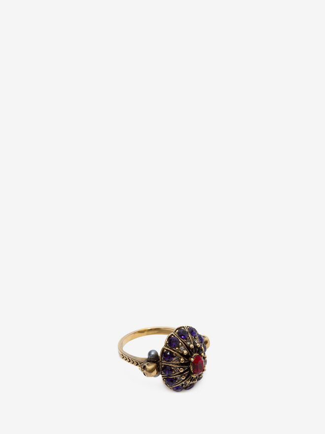 ALEXANDER MCQUEEN Jewelled Swarovski Crystal Ring Ring D e