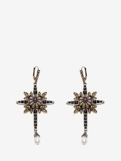 Ohrringe mit Kreuz und Schmucksteinen