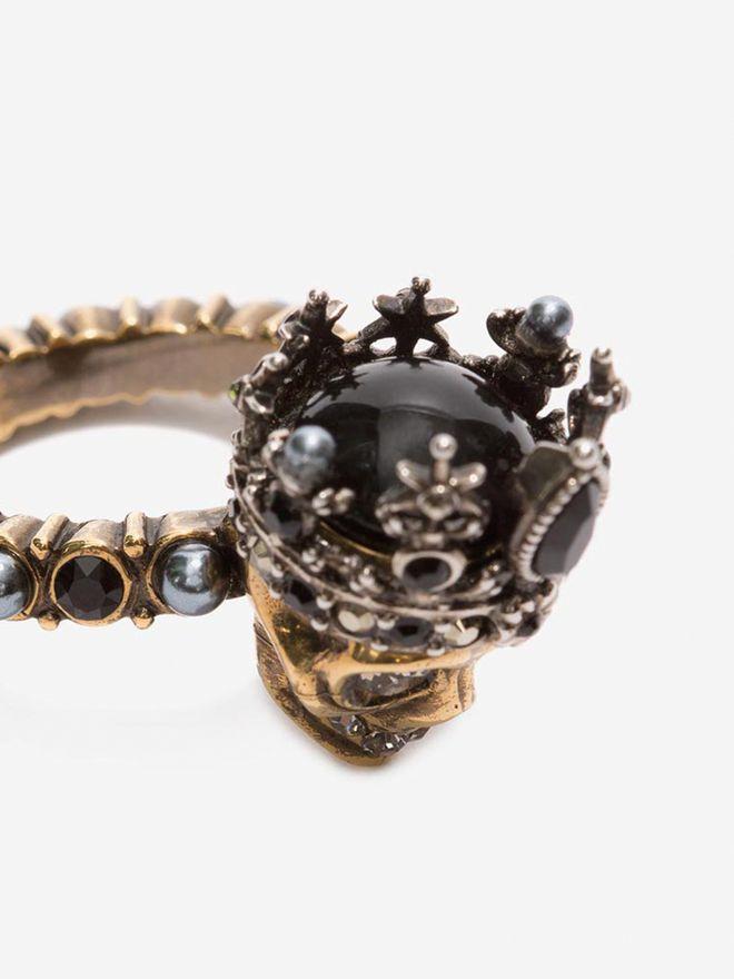 ALEXANDER MCQUEEN Queen Skull Ring Ring D e