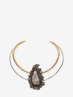 ALEXANDER MCQUEEN Necklace D Jeweled Double-Hoop Choker f
