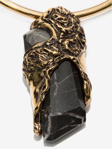 ALEXANDER MCQUEEN Double-Hoop Choker with Portoro Stone Necklace D d