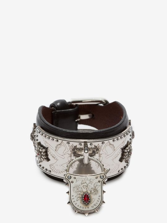 ALEXANDER MCQUEEN Leather Padlock Cuff Bracelet D f