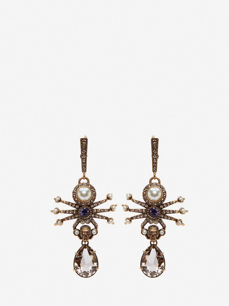 Gold-Tone, Swarovski Crystal And Faux Pearl Earrings in Metallic