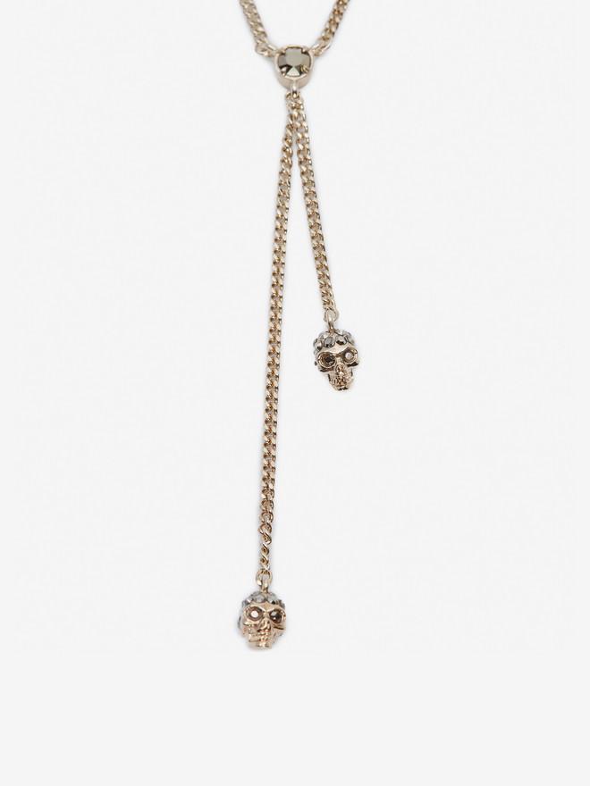 ALEXANDER MCQUEEN Double-Wrap Chain Skull Necklace Necklace D r