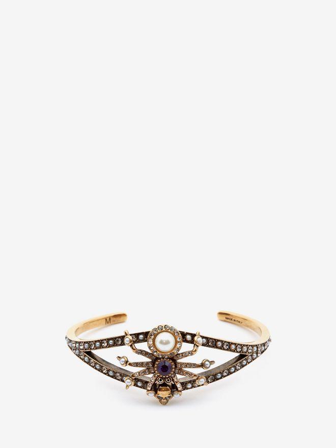 ALEXANDER MCQUEEN Swarovski and Crystal Spider Cuff Bracelet Woman f