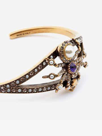 ALEXANDER MCQUEEN Swarovski and Crystal Spider Cuff Bracelet Woman d