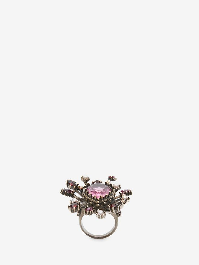 ALEXANDER MCQUEEN Jeweled Rose Ring Ring Woman f