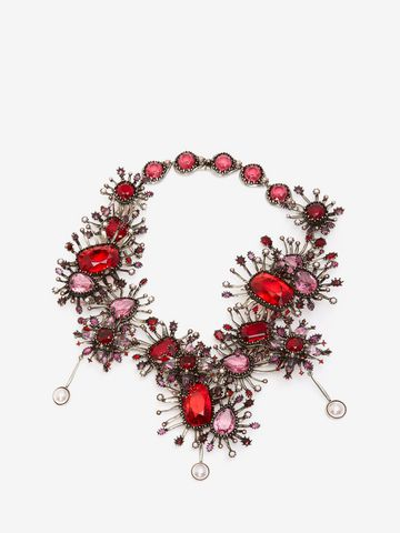 ALEXANDER MCQUEEN Jeweled Rose Choker Necklace D f
