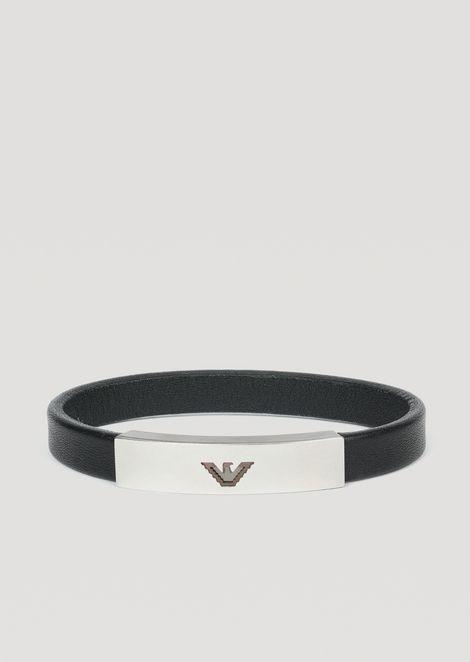 eeb57d2f2 Leather bracelet with logo plate   Man   Emporio Armani