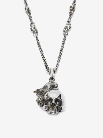 Alexander McQueen Silver raven and skull necklace tt1n5CwFL