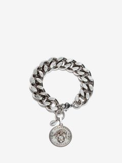 Crow & Skull Medallion Chain Bracelet