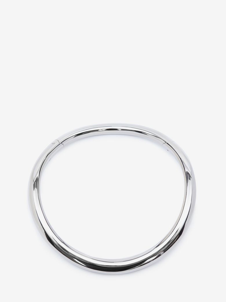 Silvertone Tubular Choker Necklace