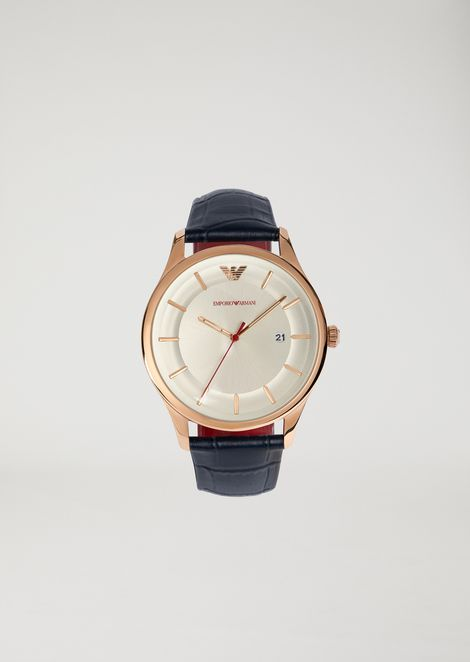 watch with stainless steel case and crocodile leather strap man